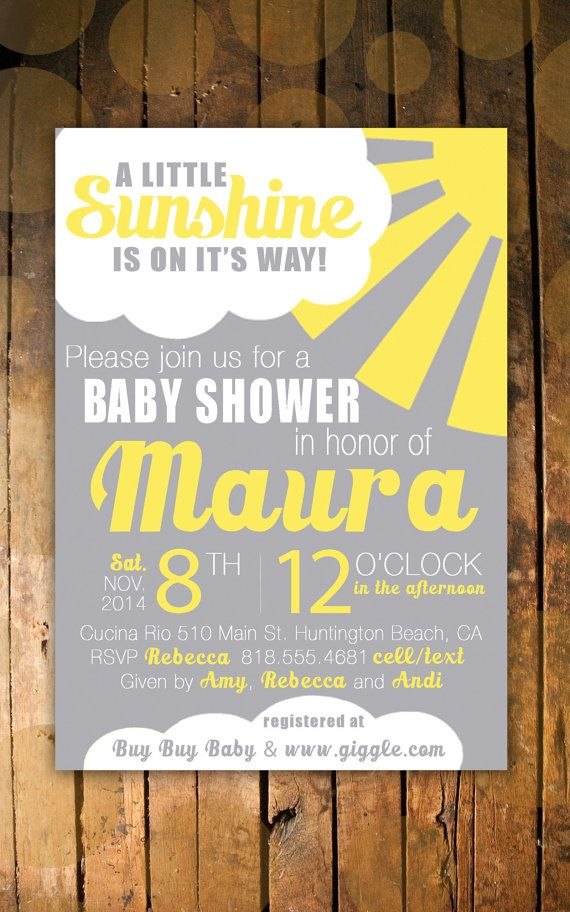 Unique Sunshine Unisex Baby Shower Invitation Grey by RJCardStore