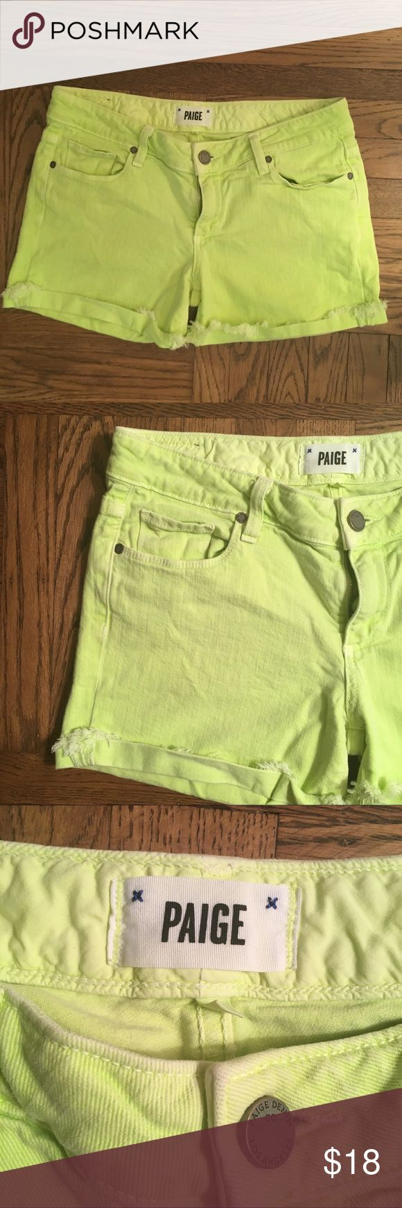 PAIGE Anthropologie Neon Green Yellow Shorts Sz 27 Paige Size 27 Jimmy Jimmy Shorts Neon Green Shorts no holes or stains, in excellent used condition!  Message me with any questions! Always open to offers :) Anthropologie Shorts Jean Shorts