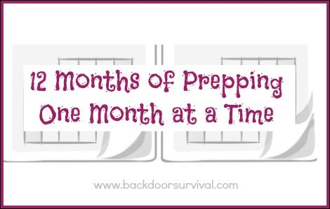 A monthly calendar of emergency preparedness activities to help break down and simplify the overwhelming task of getting started prepping.
