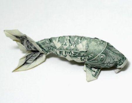 Оригами рыба карп из денег: схема по сбору