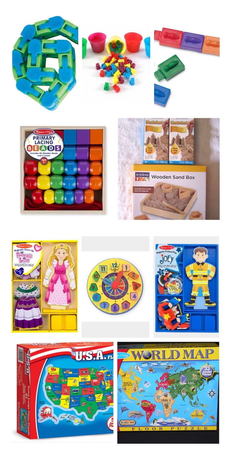 EDUCATIONAL TYPE TOYS: We have a nice little collection of these...mostly Melissa & Doug. Doesn't take up much room, but the kids love them and they learn a little something too.
