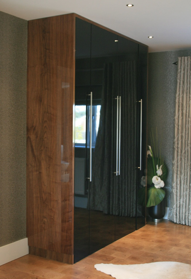High gloss black & high gloss walnut veneer wardrobe made by us www.kbstoretrade.co.uk