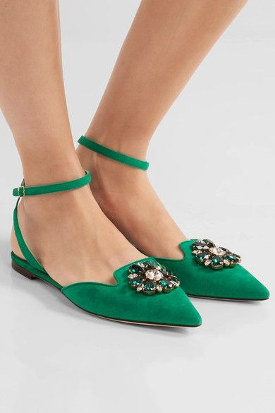 Heel measures approximately 15mm/ 0.5 inches Jade suede Buckle-fastening ankle strap Made in Italy