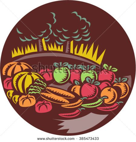 Illustration of orchard crops harvest fruit vegetable set inside circle with trees farm in the background done in retro woodcut style.  - stock vector #fruitsandvegetables #woodcut #illustration