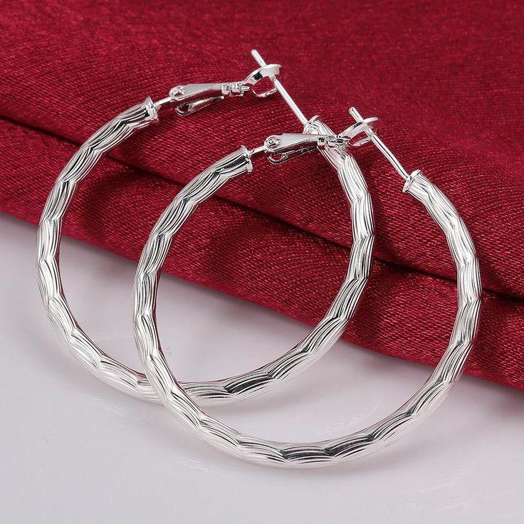 925 Sterling Silver Filled Hoop Earring Round Pattern Women Fashion Jewellery