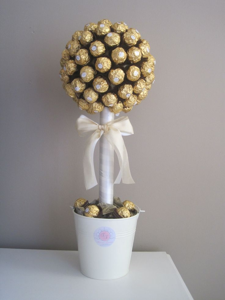 Ferrero rocher tree with simple white colours sweet trees