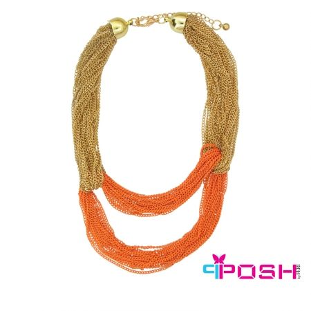 Asal - Necklace Colourful Chunky multi Chain Necklace - Gold and orange colour - Dimensions: 46cm + 6cm extending chain