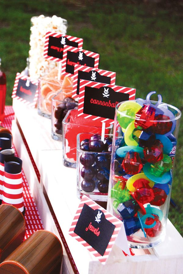 "Pirate Party - Food - Used ring pops as ""pirate jewels"" and whoopers as ""cannonballs,"" HUGE hit! ✔"