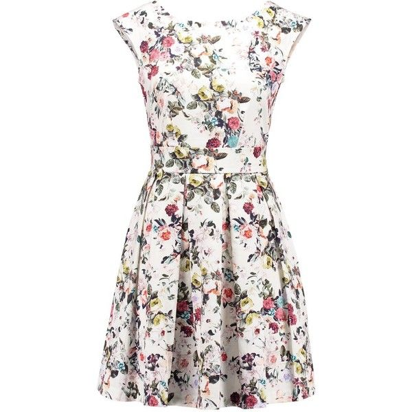 Closet Summer dress dusty white flower (255 BRL) ❤ liked on Polyvore featuring dresses, vestidos, multicoloured, cotton dress, cotton summer dresses, women dresses, floral print dress and backless dress