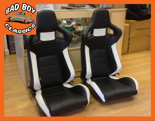 Bad Boy BB6 Reclining Bucket Sports Seats Black / White LANDROVER DEFENDER in Seats | eBay