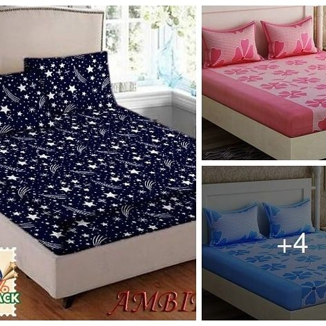 Attractive Poly Cotton Double Bedsheet Abstract Design Poly Cotton