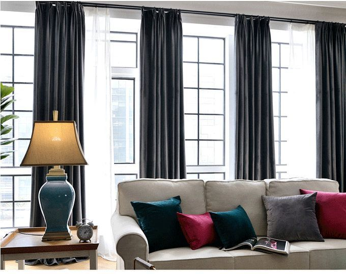 Pair Of Charcoal Grey Velvet Curtains Bedroom Velvet Curtains Living Room Velvet Curtains Custom C Grey Velvet Curtains Blue Velvet Curtains Velvet Curtains