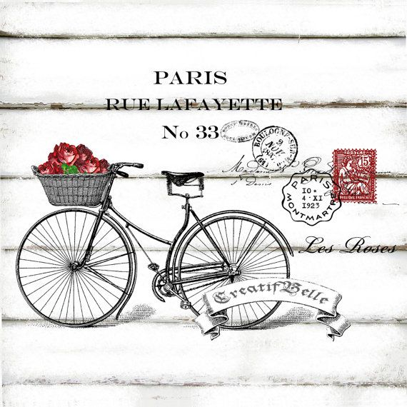 French Vintage Bicycle Roses Large A4 Instant by CreatifBelle