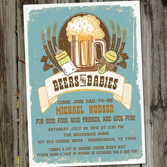 Perfect Baby Shower Invitation for the new Dad-to-Be! Bring a box of diapers to trade for a Keg cup!!