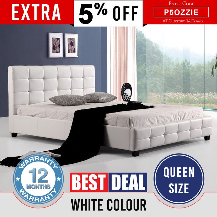New Queen Size Bed Frame White Luxury Thick Padded PU Leather Slat Base Bravo