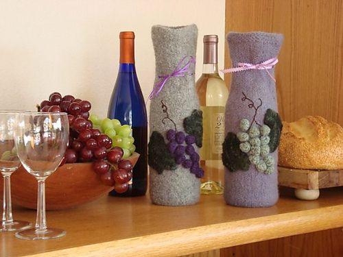 Felted Wine bottle holders