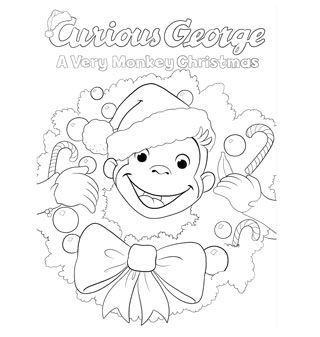 Curious George Christmas Coloring Page