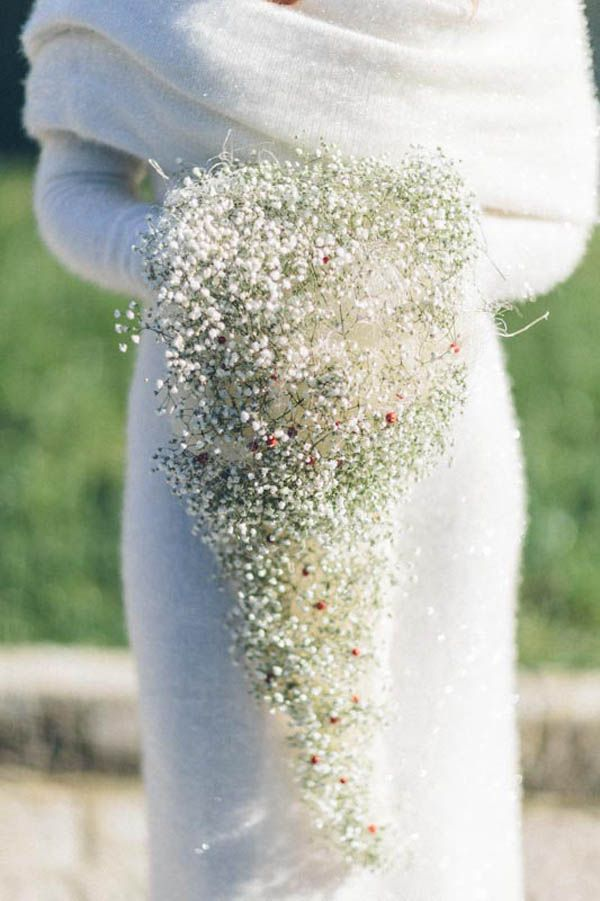 cascading baby's breath for a winter wedding
