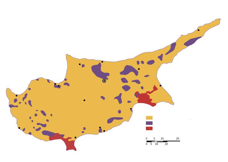 Ethnic map of Cyprus in 1973. Yellow denotes Greek Cypriots, purple denotes Turkish Cypriot enclaves & red denotes British bases