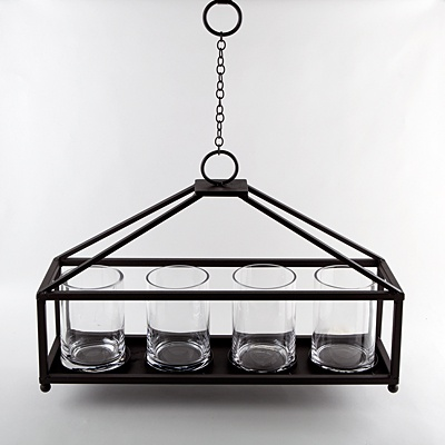 Metal Hanging Candle Chandelier  with Four Glass Holders