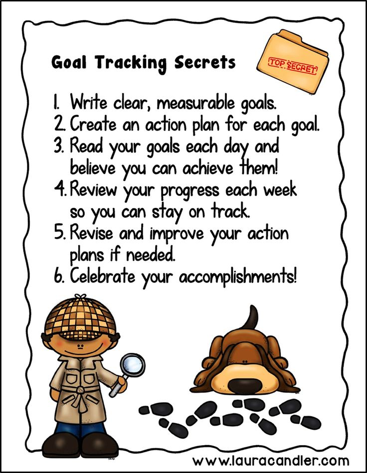 Goal Tracking Secrets mini poster or printable handout for students. Included in the Tracking My Goals student journal pack. $ #LauraCandler
