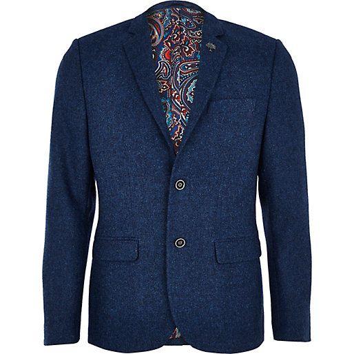 Blue tweed formal blazer - blazers - coats / jackets - men