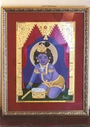Tanjore Paintings - blue baby krishna