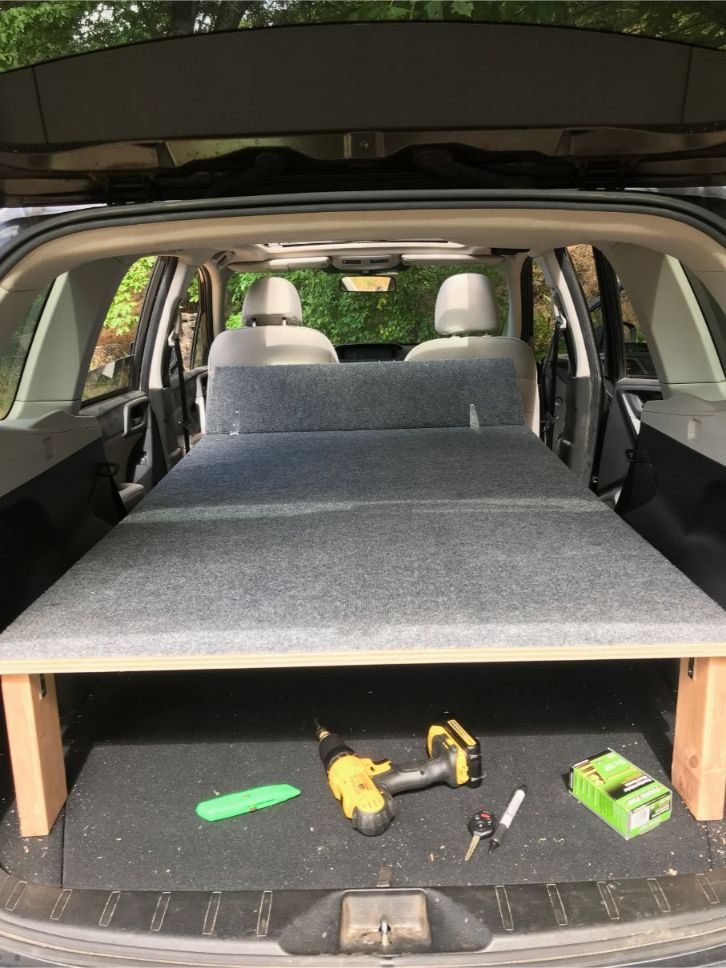 Suv Sleeping Platform Camper Conversion For Subaru Forester Suv Camper Camper Conversion Suv Storage