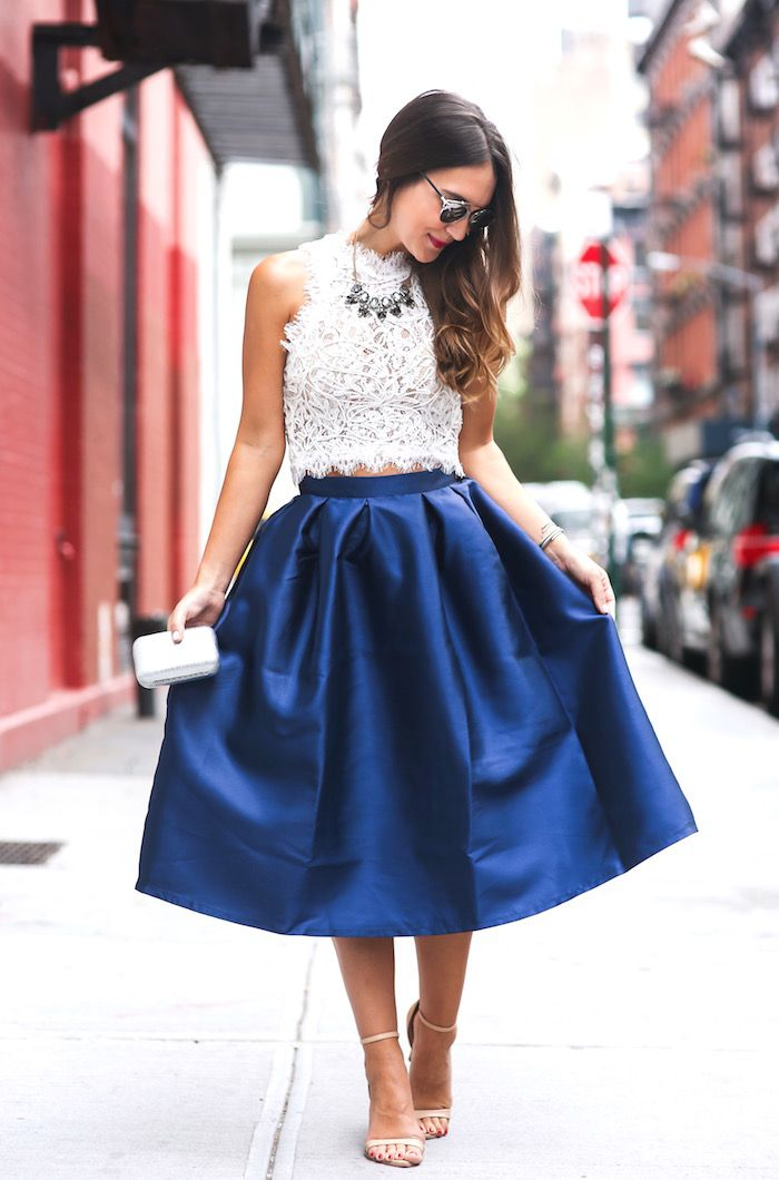 Lace top, satin midi skirt, two strap nude heels, clutch, necklace ...