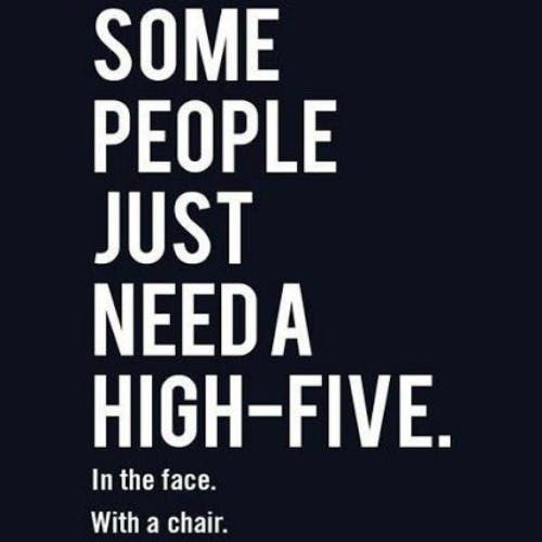 """Some people just need a high-five. In the face. With a chair."""
