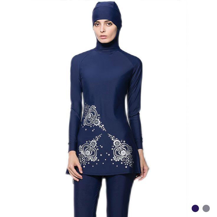 Make Difference Print Islamic Swimwear Women Girls Muslim Swimwear Full Cover Modest Islamic Swimming Suits Plus Size Burkinis