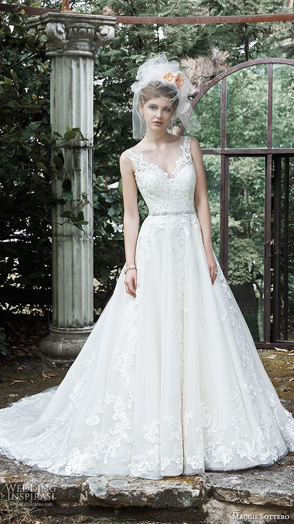 MAGGIE SOTTERO #bridal fall 2015 #wedding dresses beautiful a line ball gown lace strap v neckline embroidered bodice sybil