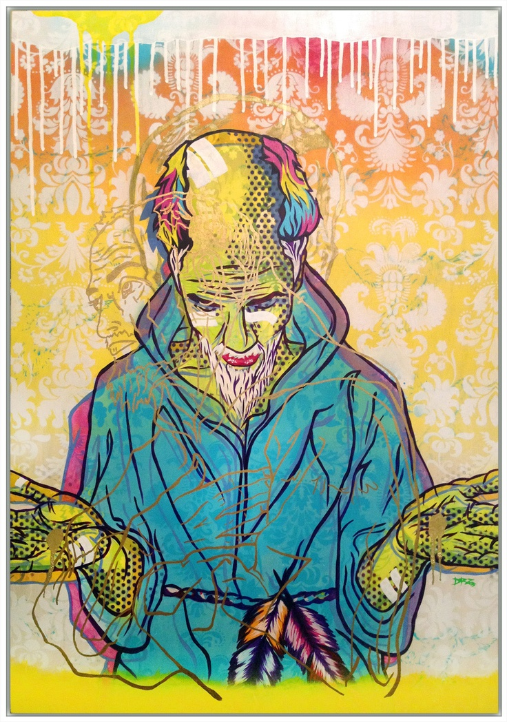 """""""St Francis""""  24 x 40 inches  Mixed Media on Birch Panel"""