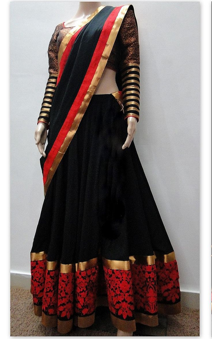 Georgette Machine & Thread Work Black Semi Stitched Bollywood Style Lehenga - T386 at Rs 4095