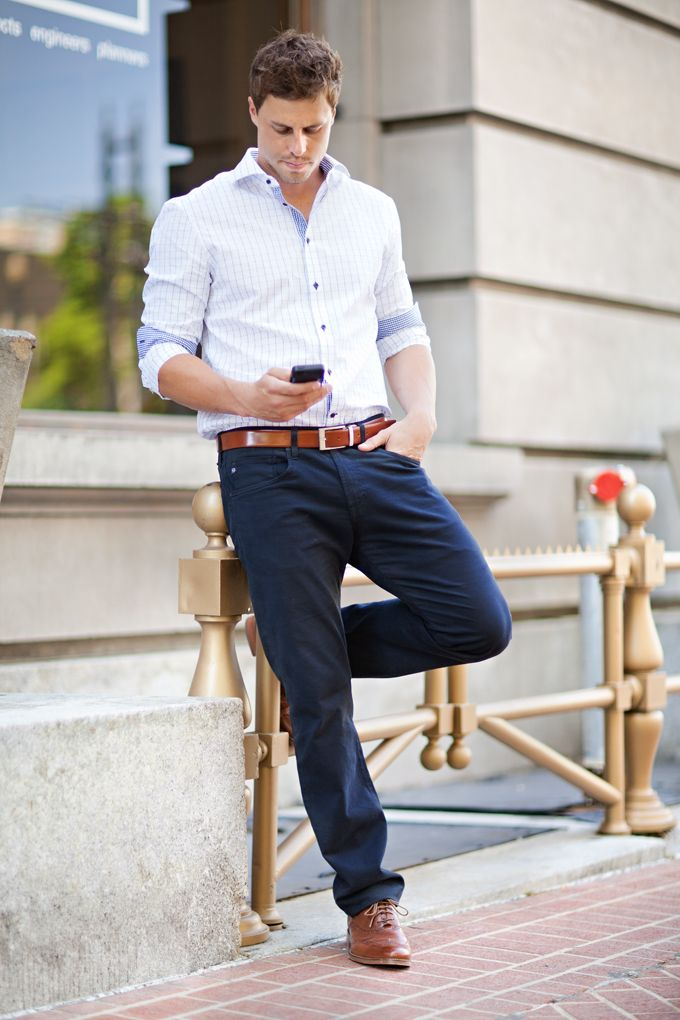 white checked oxford. navy pants. caramel belt/ brogues. simple. easy. lunch date. casual. style.