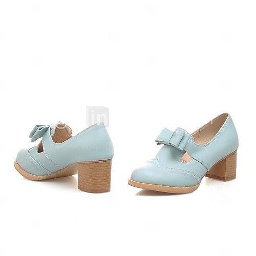 Calçados Femininos - Saltos - Arrendondado - Salto Grosso - Azul / Rosa / Bege - Courino - Social de 2017 por €29.39