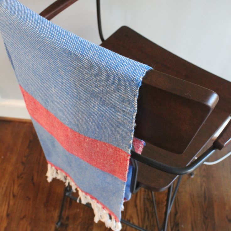 LIZABETH Hand Towel |$35.00| Perfect Blue & Red combination – Living Threads Co. livingthreadsco.com