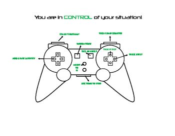 Kids LOVE video games, so I created a game controller worksheet with ideas for conflict resolution. I made a blank template (available in my store) that can be used for other topics, but this particular one has ideas for conflict. Can be used with a lesson or with an individual student who has trouble responding to conflict.