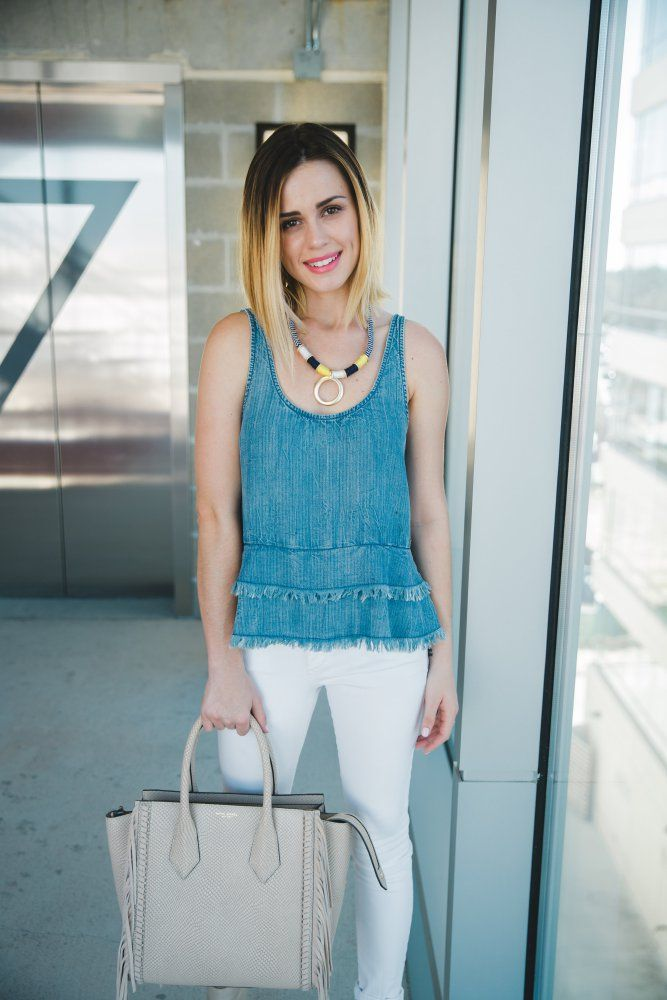 Casual Spring look: Denim on Denim | White Denim Jeans | Uptown with Elly Brown