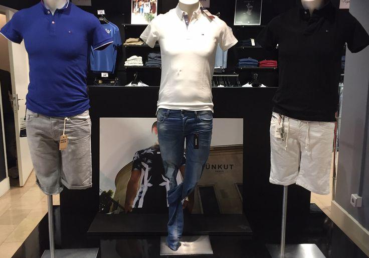 Rendez-vous chez Parano à Reims pour découvrir les nouveaux Polos homme de la marque Tommy Hilfiger ! Bleu, Blanc, Noir, Rouge, etc ... Short en jeans -> Teddy smith, Jean -> Diesel, SHort blanc -> DN Sixty Seven