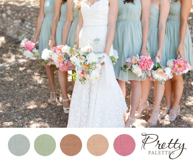 Wedding Color Palettes - Muted blue, green, peach, pink boom. with some cobalt blue in there somewhere and I have my colors