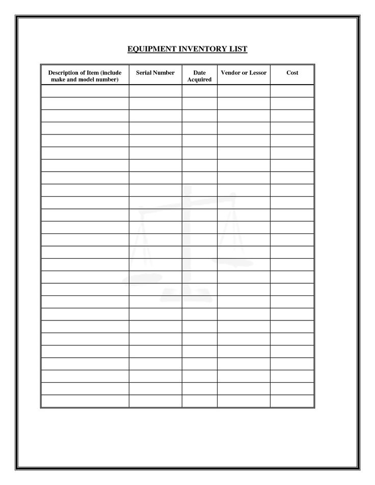 Free Inventory Forms Downloads Equipment Inventory List