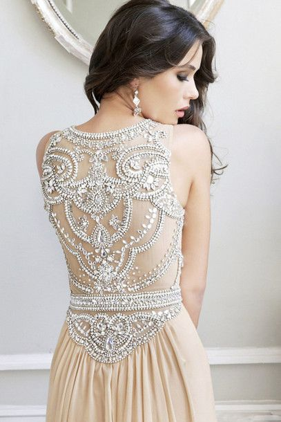 dress sparkly beads beaded beaded dress backless pattern cream prom dress, white, open back, long cream white silver
