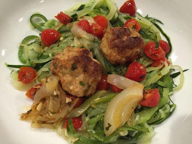 Awesome Turkey Meatballs!  http://www.whitsway.com/awesome-turkey-meatballs/  #WhitsWay #TracySays #Organic #OrganicLiving #turkey #meatballs #turkeymeatballs #tomatosauce #pasta #zucchinipasta #recipe