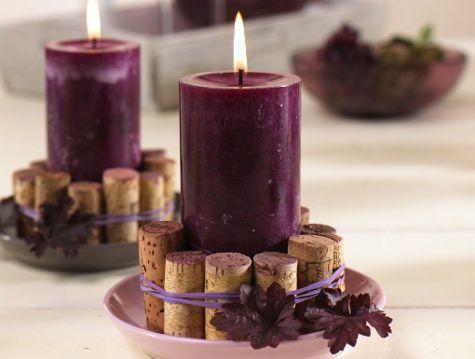 Herbstliche Kerzendeko für den gemütlichen Weinabend