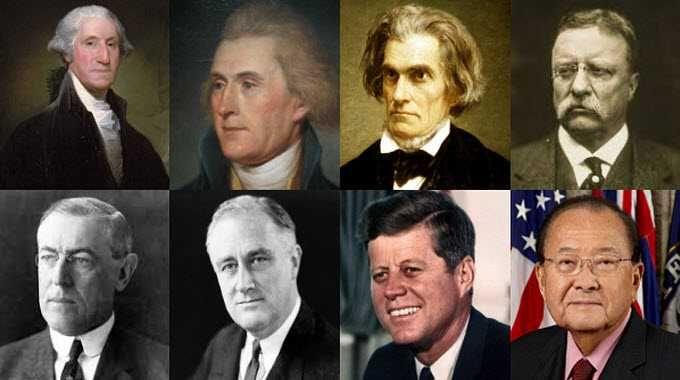 Top: George Washington, Thomas Jefferson, John C Calhoun, Theodore Roosevelt; Bottom: Woodrow Wilson, Franklin D Roosevelt, John F Kennedy, Daniel K Inouye