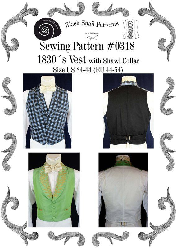 Romantic and Victorian Vest 1830 Sewing Pattern #0318 Size US 34-56 ...