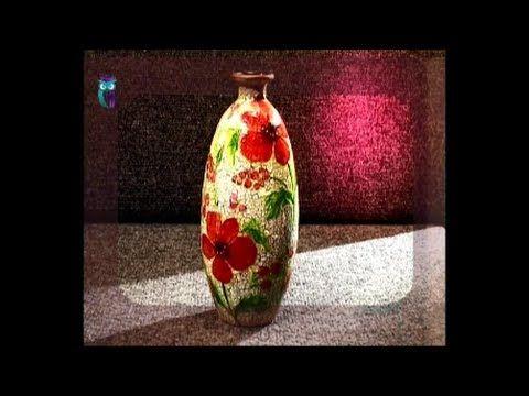 Decoupage. Make vases of usual glass bottles using glass painting. Diy. Handmade - YouTube
