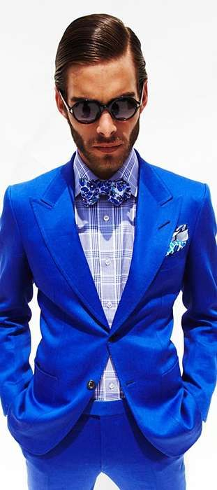 blue suit. drop the bowtie, the douchey sunglasses, and gimme notch lapels, and i'm in