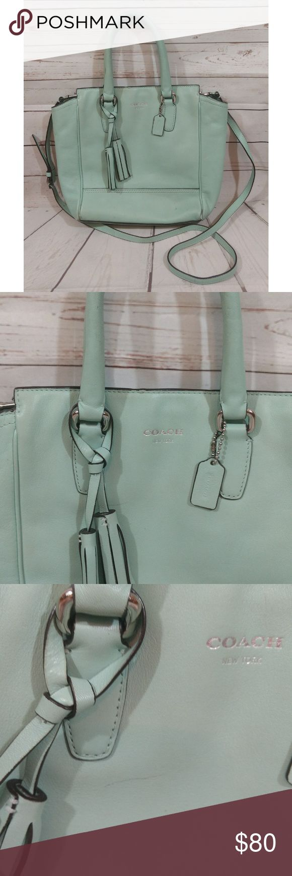 Coach Legacy Leather Mini Tanner Crossbody Bag Coach Legacy Leather Mini Tanner Shoulder Hand Bag Crossbody 48894 Mint Green   Has been worn/used a shown! Please review all photos.   *COACH MINI LEGACY TANNER  *MINT GREEN  *SILVER HARDWARE  *HANGTAG  *DUAL HANDLES  *CROSSBODY STRAP  *LEATHER TASSELS  *ZIP CLOSURE Coach Bags Crossbody Bags